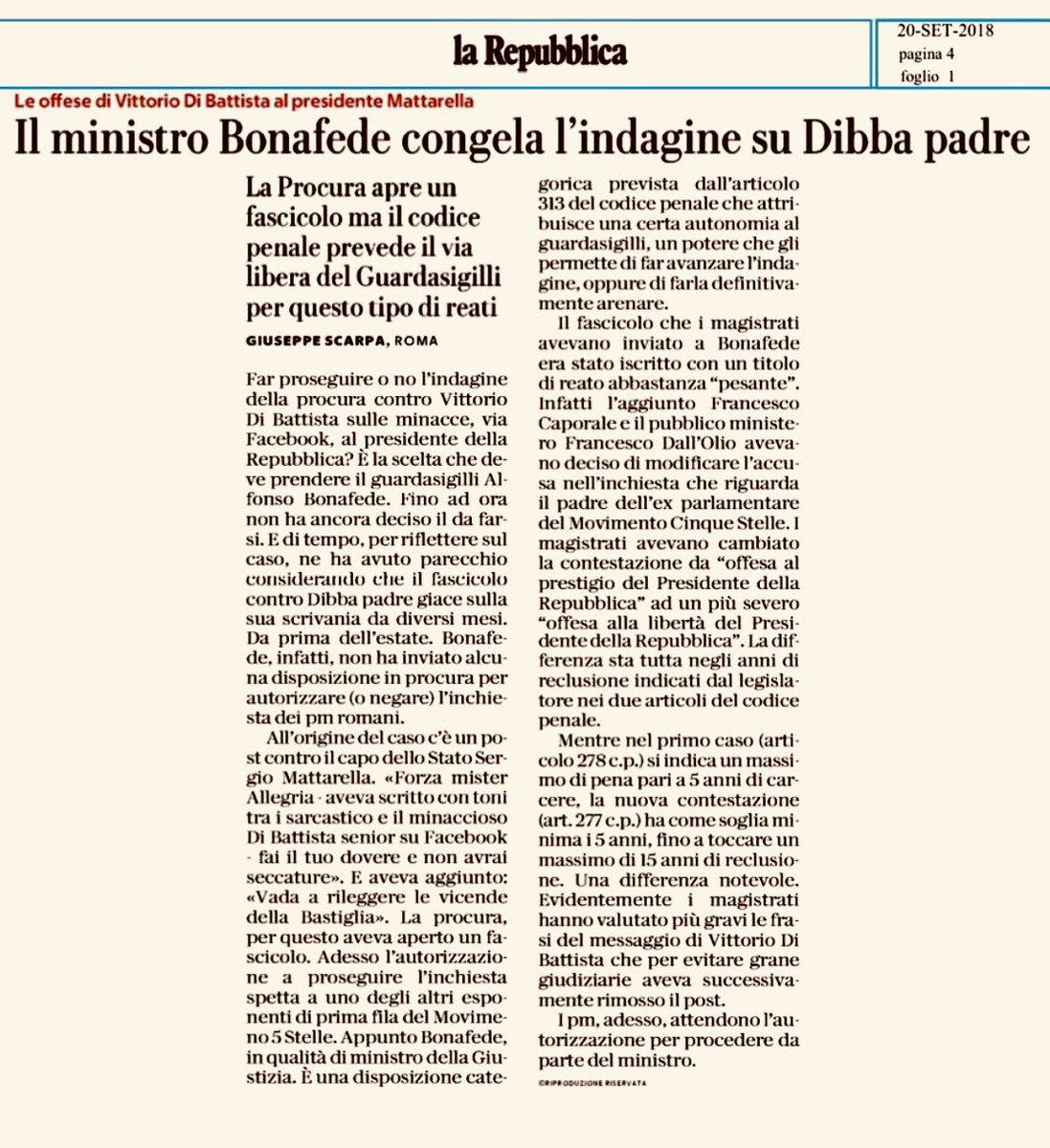 il padre di #DiBattista con un post aveva minacciato il Presidente #Mattarella. Un fatto molto grave. Ora il ministro @AlfonsoBonafede di #M5S cui spetta il potere di far proseguire le indagini 'traccheggia' e perde tempo. Perché? Non erano loro che gridavano #honestà? #vergogna  - Ukustom