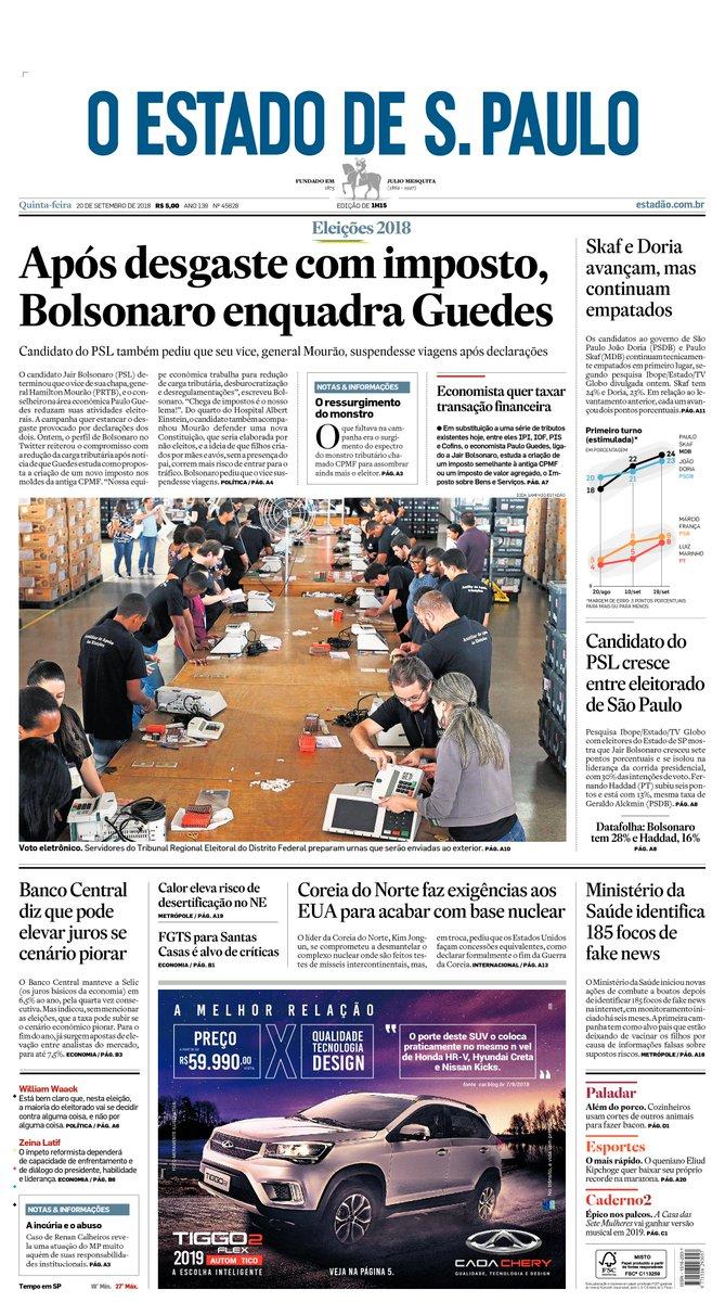 CAPA: Após desgaste com imposto, Bolsonaro enquadra Guedes. Veja mais: https://t.co/ncdPY0pupk #estadao