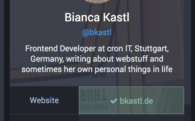 Cropped screenshot of Bianca Kastl's Mastodon profile showing website field with their domain and a green checkmark indicating it's been verified