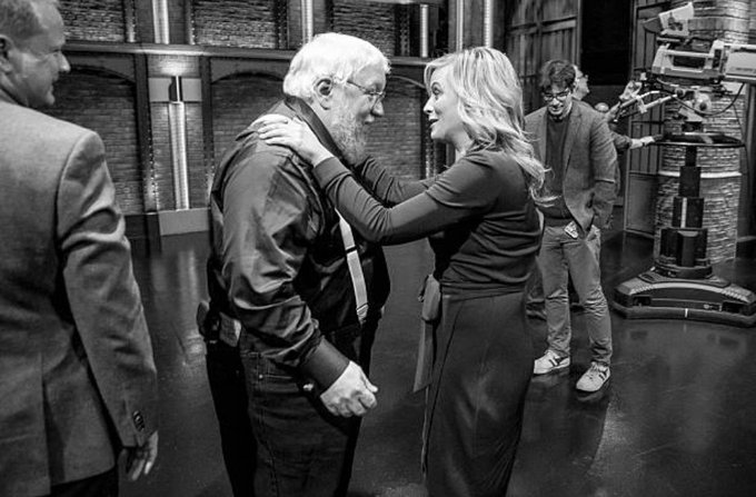 Happy birthday George R. R. Martin With Amy Poehler on Late Night With Seth Meyers Photo: Lloyd Bishop, 2014