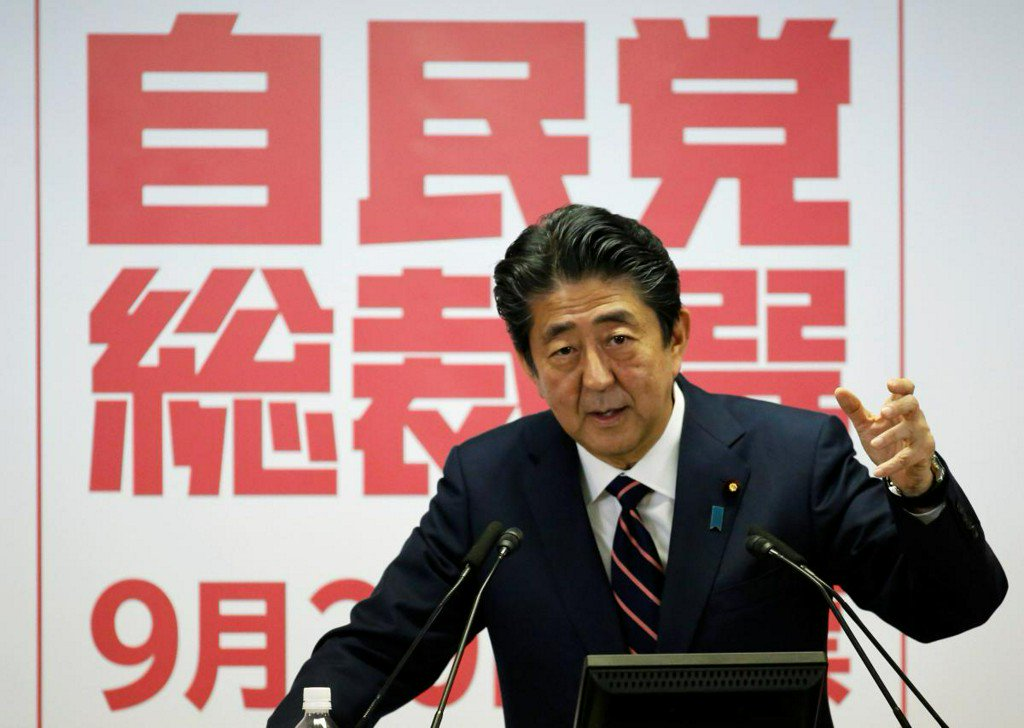 Japan PM Abe wins extended term, faces Trump trade challenge https://t.co/LK7Qj09KOx https://t.co/hfOoWa5aYi