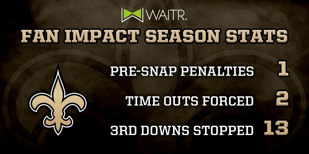 Thanks for your fan impact plays this week #Saints fans! (via @Waitrapp)