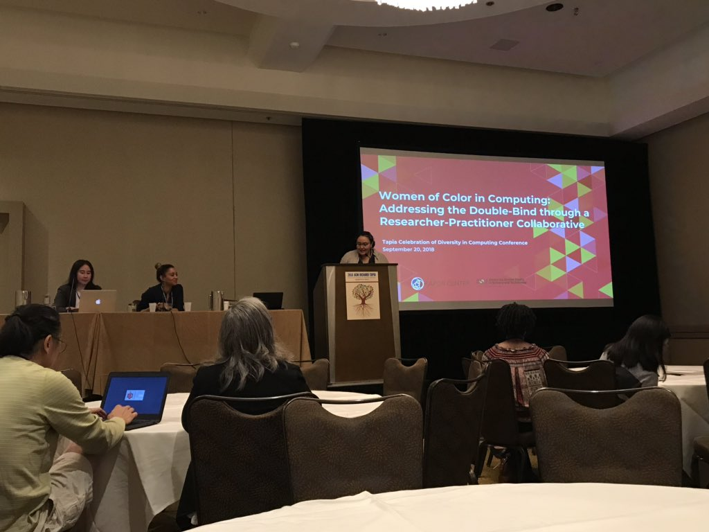No better way to kick off our morning than by discussing Women of Color in Computing. #Tapia2018