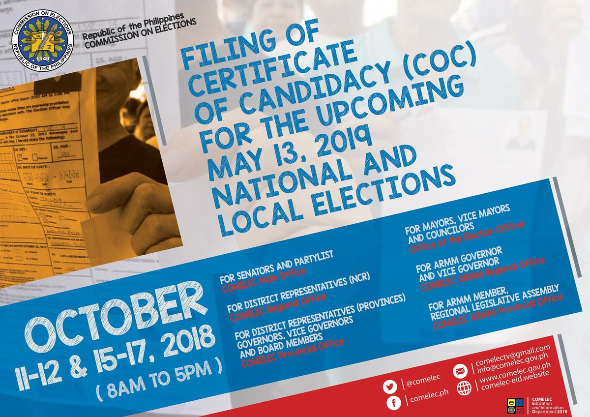 Image result for october 11 - 17, 2018 certifica candidacy comelec