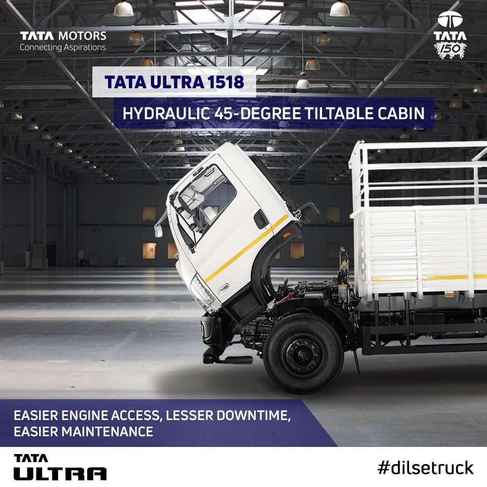 "Tata Motors on Twitter: ""Tata Ultra 1518 has a hydraulic 45 degree tiltable  cabin which enables easier engine access and easy maintenance."