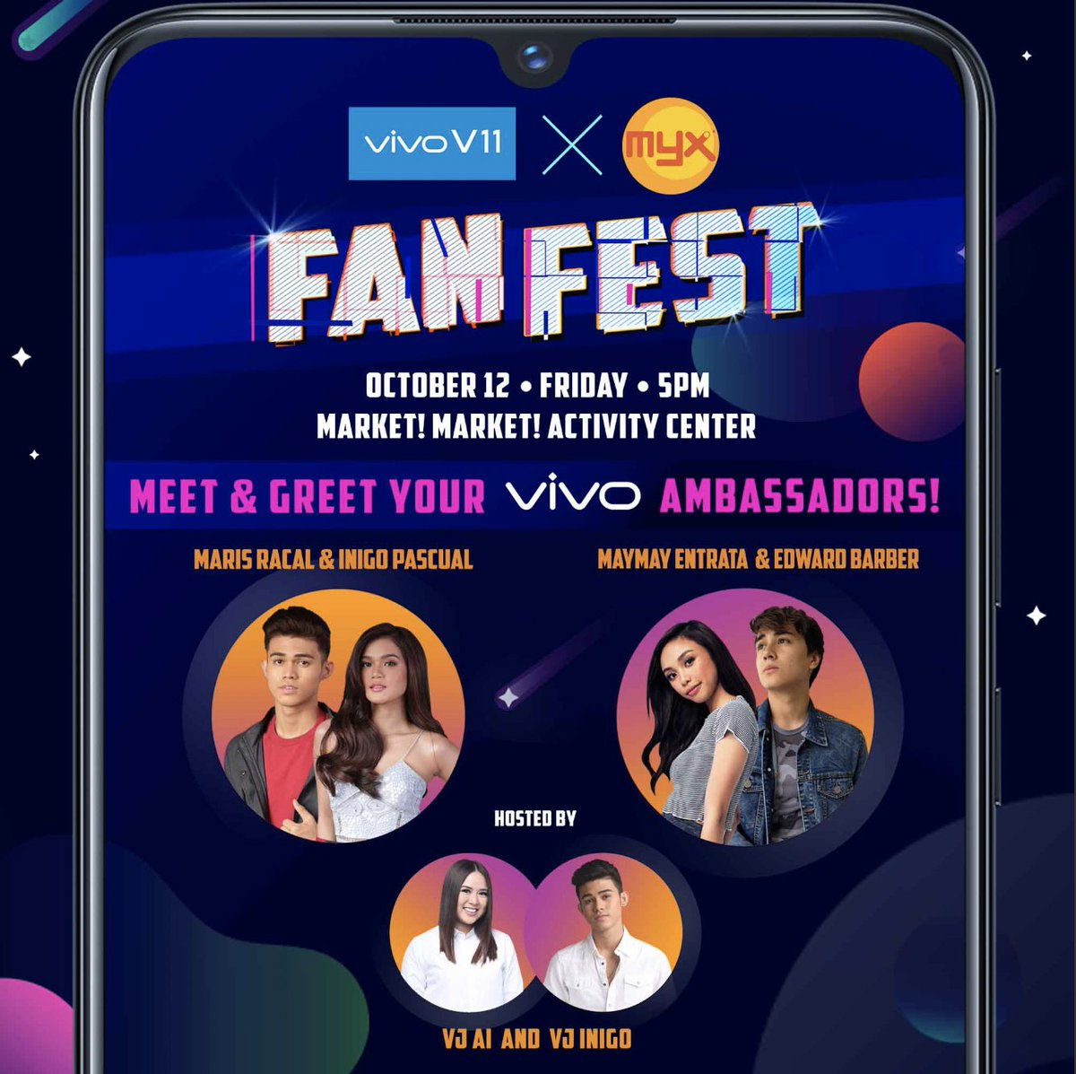 #MarNigo and #MayWard fans, are you ready for this? Vivo and MYX are giving you the chance to MEET & GREET your Vivo ambassadors – Maris Racal, Inigo Pascual, Maymay Entrata and Edward Barber at the VIVO x MYX Fan Fest on October 12, Friday at the Market Market Activity Center!