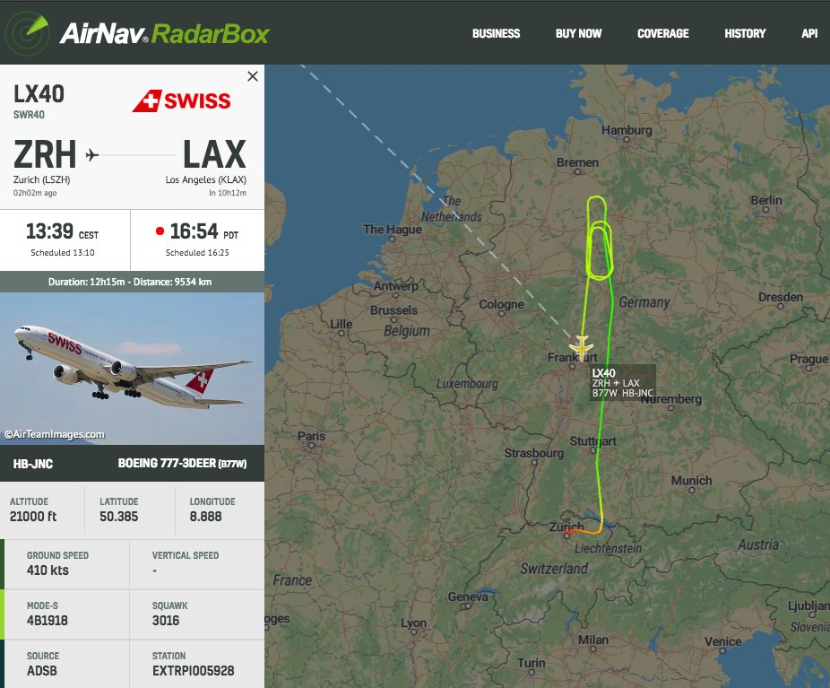 @FlySWISS #LX40 to LAX looks to be returning to Zurich #radarbox https://t.co/wG5rjAPqW6
