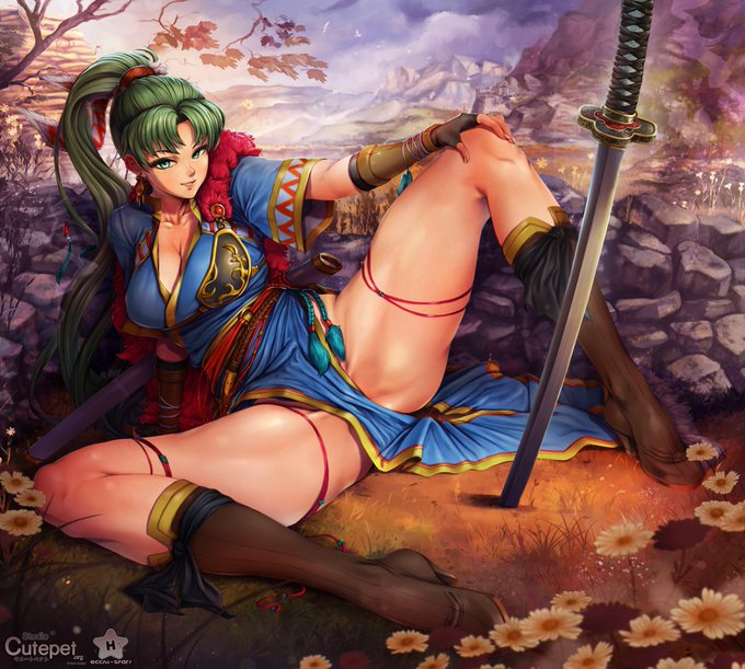 Lyndis, on break from her hero duties takes a moment to relax (and take care of herself). Art by Ecchi-Star