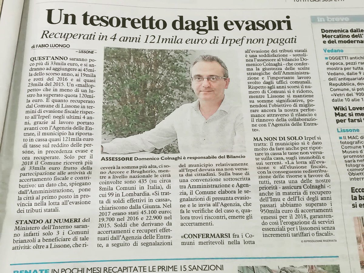 Se lo dice anche il giornale...da Il Giornale del 19.09.2018#news #lissone #city #tesoro #evasione #fisco #pd #italia #partitodemocratico #colnaghi #assessore #comune #amministrazione #admin #cityhall  - Ukustom