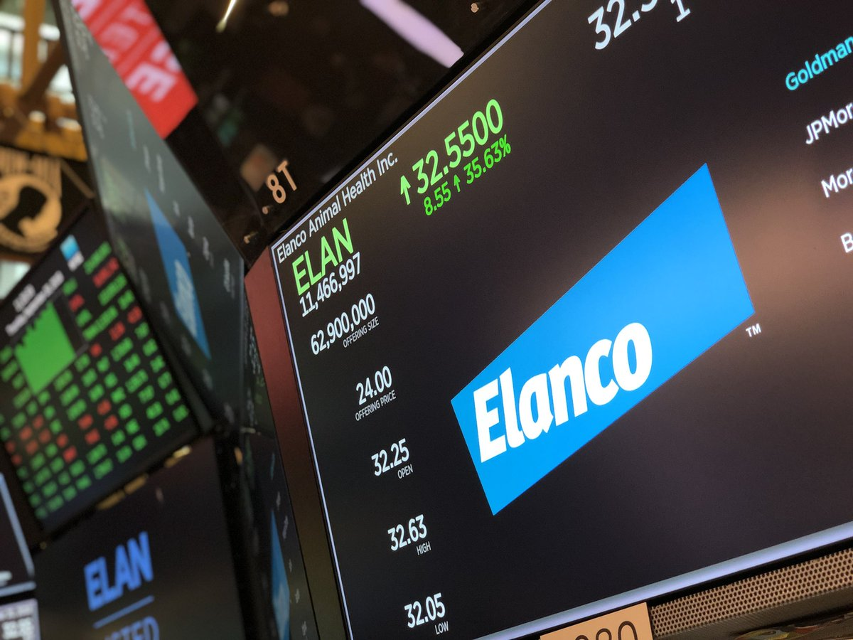 And @Elanco is officially a public company, opening at $32.25 and raising $1.5b (NYSE: $ELAN)