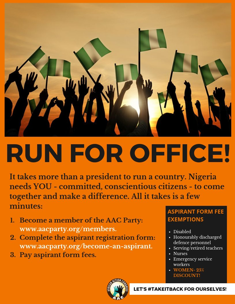 RUN FOR OFFICE - Let&#39;s Take It Back Together!  If you have not already registered, NOW is the time to do so! The president cannot do it alone; help is needed in every sector to turn Nigeria around!  http://www. aacparty.org/members  &nbsp;    http://www. aacparty.org/become-an-aspi rant/ &nbsp; …   #TakeItBack - #ACTION!<br>http://pic.twitter.com/rQXQ8oqUeU