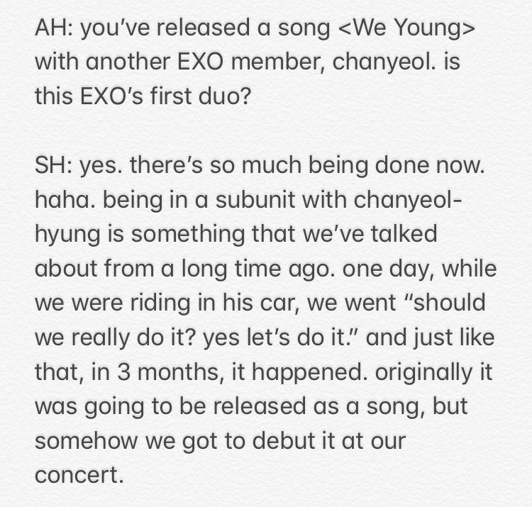 180920 a rough translation of a small part about <WE YOUNG> from sehun's interview with arena homme ;; it's official: chanhun are exo's first duo and second subunit!! so excited for what's more to come... 🤧😢 #찬열세훈_We_Young #WeYoung_ChanyeolxSehun