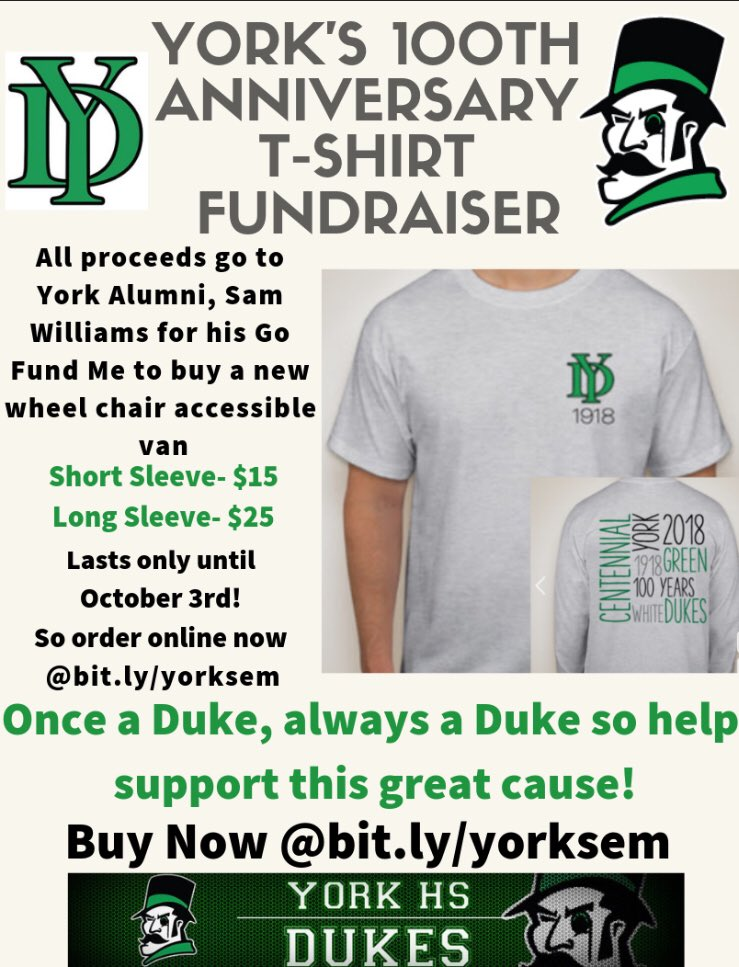 Help support Sam Williams! Former York Student! 100th Anniversary T-shirt Fundraiser. He is a Distinguished Alumni, Paralympic Athlete &amp; Head coach for the Synergy Boccia Team. Go to  http:// customink.com/fundraising/yo rkmarketingfundraiser &nbsp; … .  @yorkdukeshealth @YorkAthletics @yorkD205 @ErinDeLuga #IgniteD205<br>http://pic.twitter.com/sI1ndOfxf8