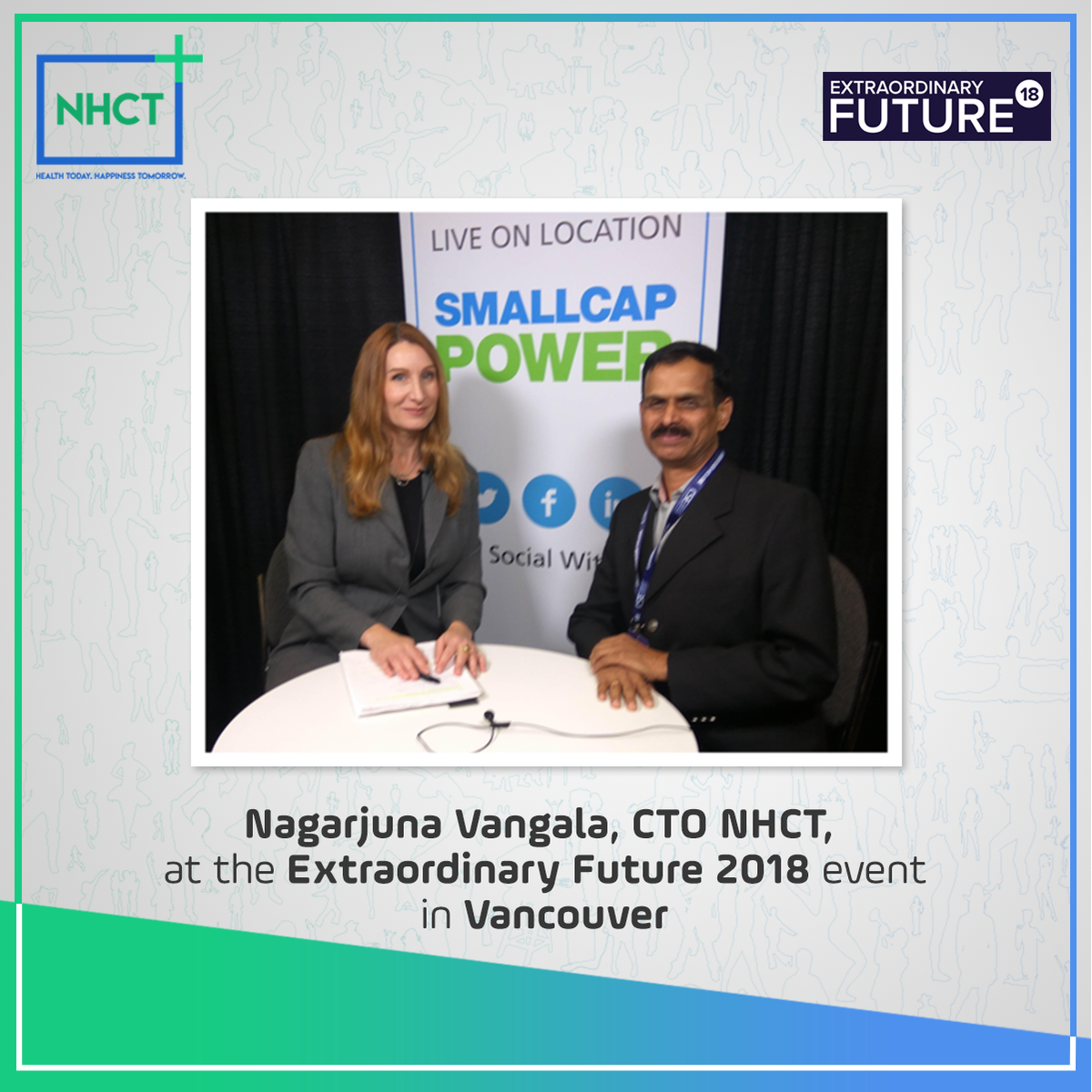 Extraordinary Future 2018 showcases the Hottest Tech Investment Opportunities in Canada.  Nagarjuna Vangala, CTO #NHCT was interviewed on location to tell the world about the extraordinary future of #Healthcare on #blockchain. #crypto #nanohealth #ethereum #ico<br>http://pic.twitter.com/c1EhohKOZH