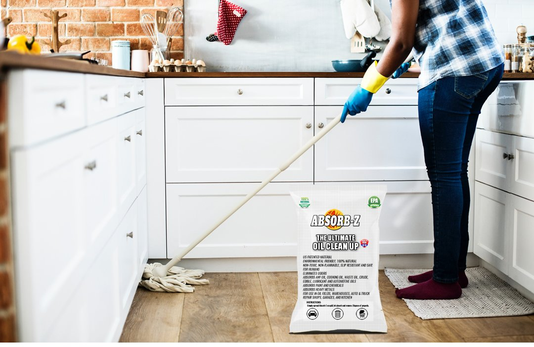 Oily stains on the floor? Get Absorb -Z the ultimate oil clean up. Safe, and fast! #kitchenfloor #oilstains #cleanfloors  #cookingoil #epa #cleaningproducts #enironmentallyfriendly #toughstain #epaapproved  #absorbz #nontoxic Contact us http://ow.ly/SqkX30lTkFb