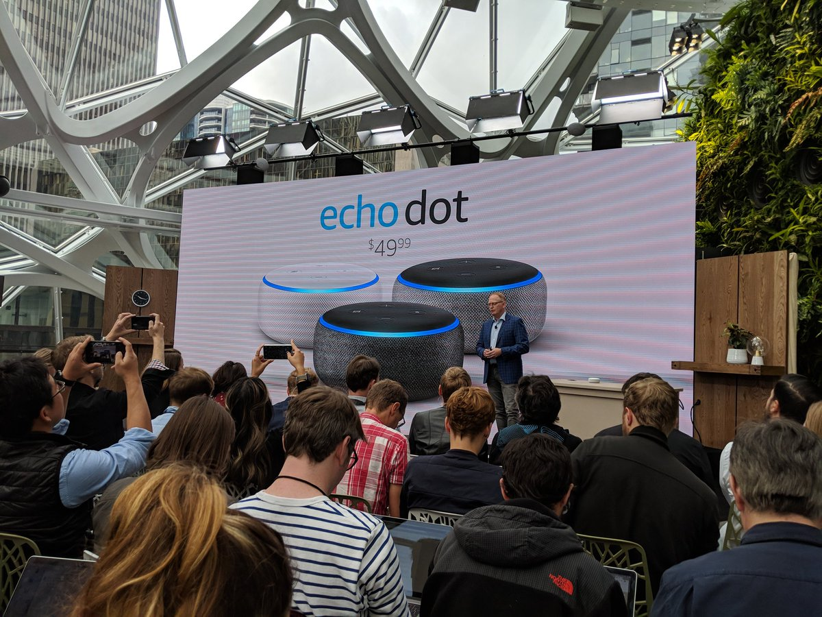 New Echo dot looks like a Google Mini slept with an Apple HomePod.