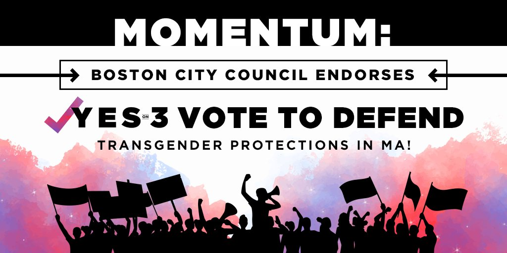 Yesterday, the #Boston City Council joined municipalities across MA—including #Melrose, #Somerville and #Arlington—by officially endorsing a #YesOn3 vote to uphold dignity and respect for our #transgender neighbors: https://t.co/PQkCjH3qCO #MAPoli #BosPoli