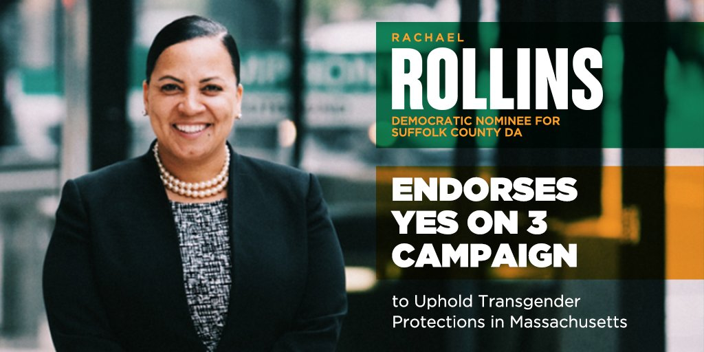 Thank you, @Rollins4DA for endorsing a #YesOn3 vote this November! Law enforcement and safety officials across MA support #TransLawMA because they know dignity for our #trans neighbors isn't a threat to public safety. #MAPoli