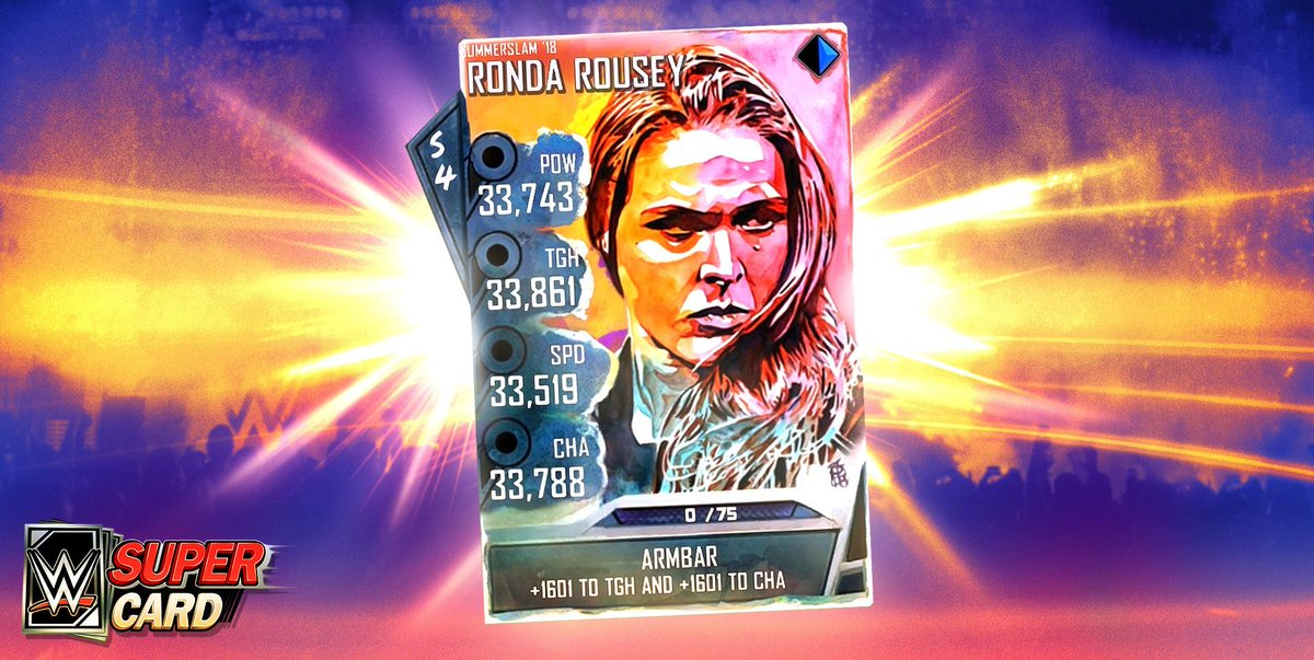 You all ready to see the Baddest Woman on the Planet smash her way into @WWESuperCard?! Check out this exclusive @RondaRousey card with special art from @robschamberger, available now! #ad