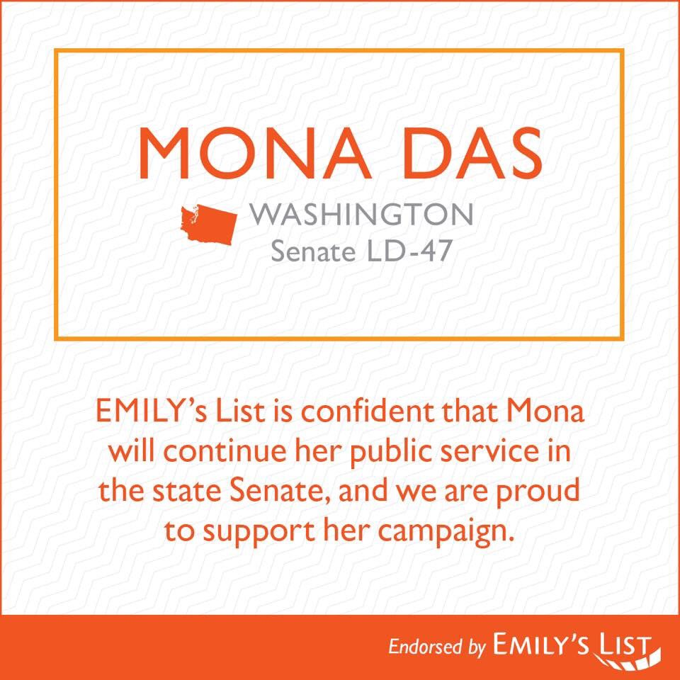 I'm beyond thrilled, honored and excited to be endorsed by EMILY&#39;s List (@emilyslist)!! Ballots drop in less than 30 days! It's GO time!! Donate and volunteer at  http:// electmona.com  &nbsp;   #womenwhorun #grateful #GOtime #getinvolved #flipthe47th #wapol #redtoblue #VoteBlue #GOTV<br>http://pic.twitter.com/SgXuiszZ1p
