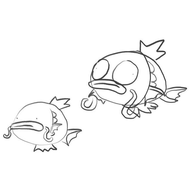 A couple of early attempts at that #Magikarp I posted yesterday. I like the derp factor, but I think the final design has a sort of charm that really makes it shine  . #art #artistsoninstagram #illustration #agenderartist #nonbinaryartist #digital #… https://ift.tt/2NVP5IM pic.twitter.com/tVOWP2stUk