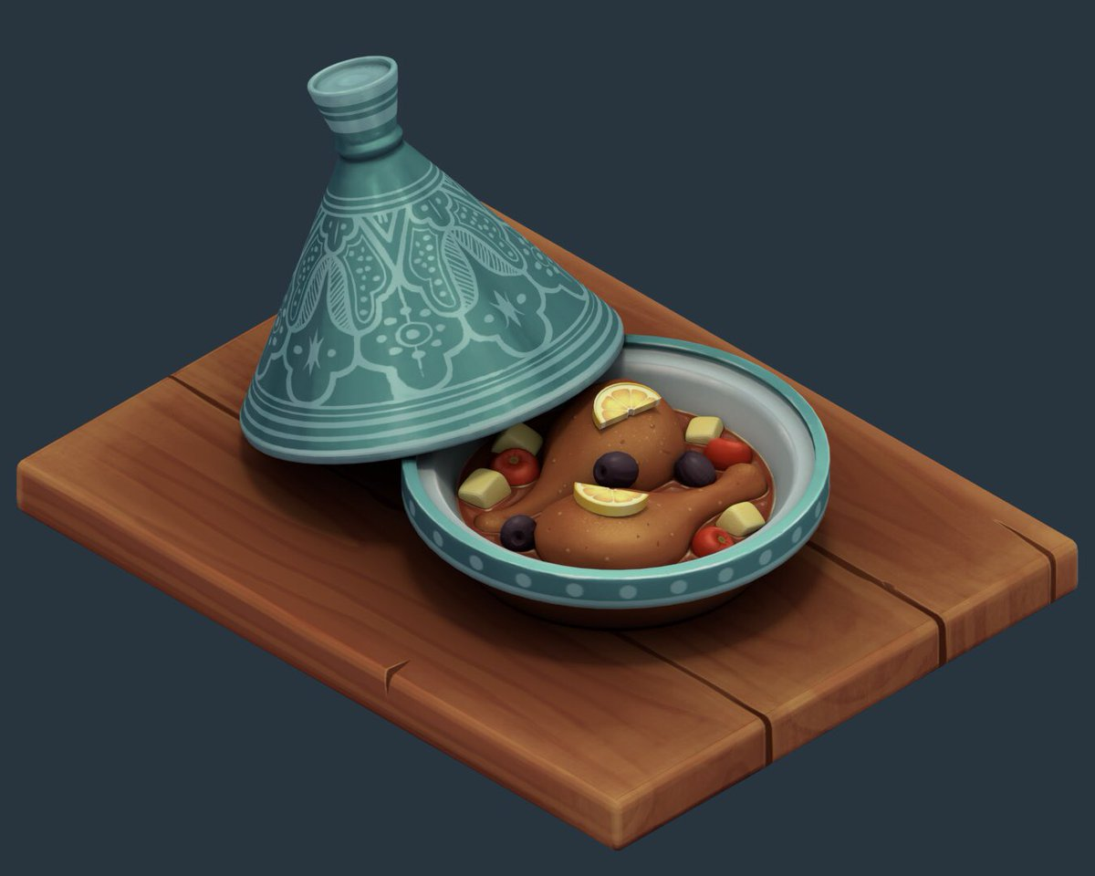 Here's my entry for @lowpolycurls' #foodchallenge  It was quite a challenge to learn how to paint the whole model and I still need to learn so much more.  You can check it out in @Sketchfab  https:// sketchfab.com/models/ebaf94b f4d4a45efa17781e555dd2cea &nbsp; …   #foodchallenge #b3d #Blender3d #handpainted #tagine #Morocco<br>http://pic.twitter.com/yJl8Fyd5ct