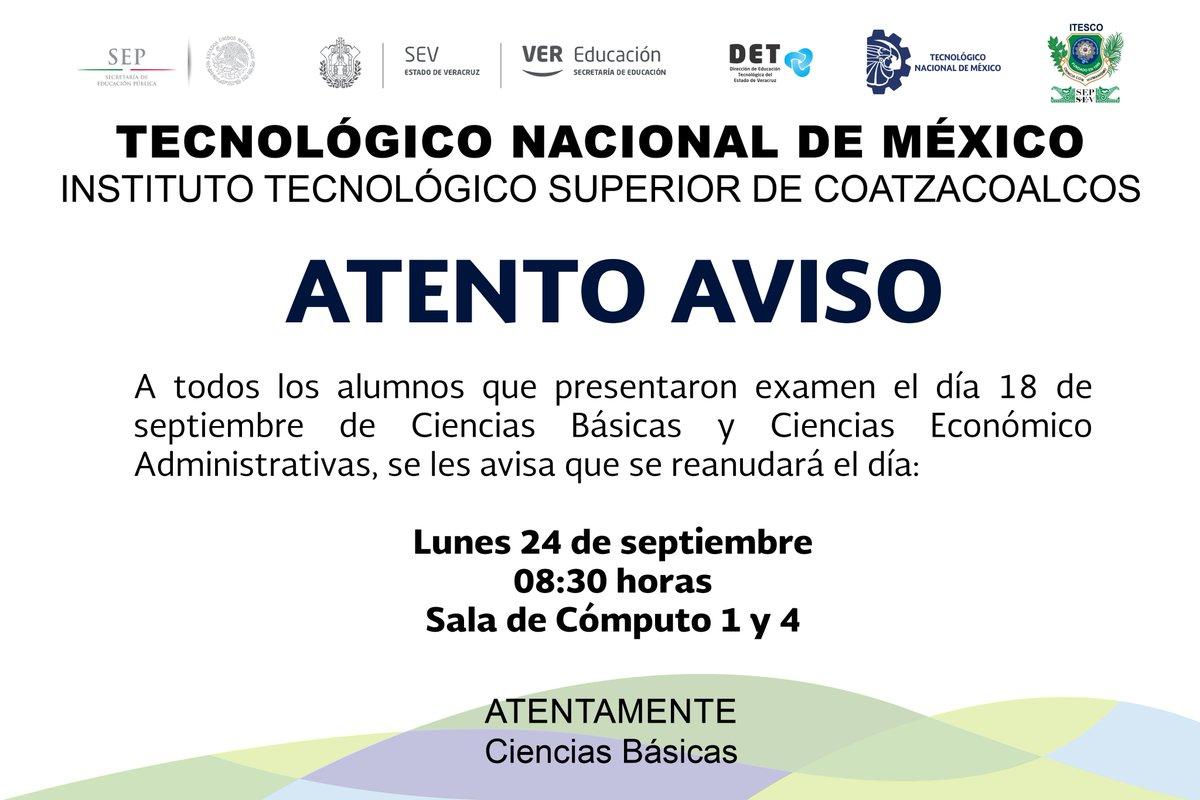 Instituto Tecnológico Superior de Coatzacoalcos (@ITESCO_OFICIAL ...