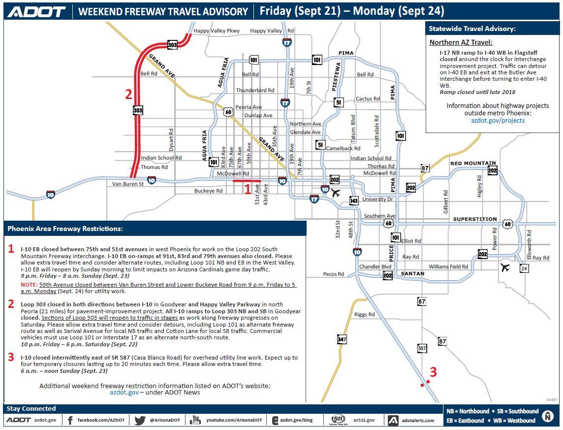 Map Of Loop 303 Arizona.Arizona Dot On Twitter Weekend Travel Advisory Two Closures Are