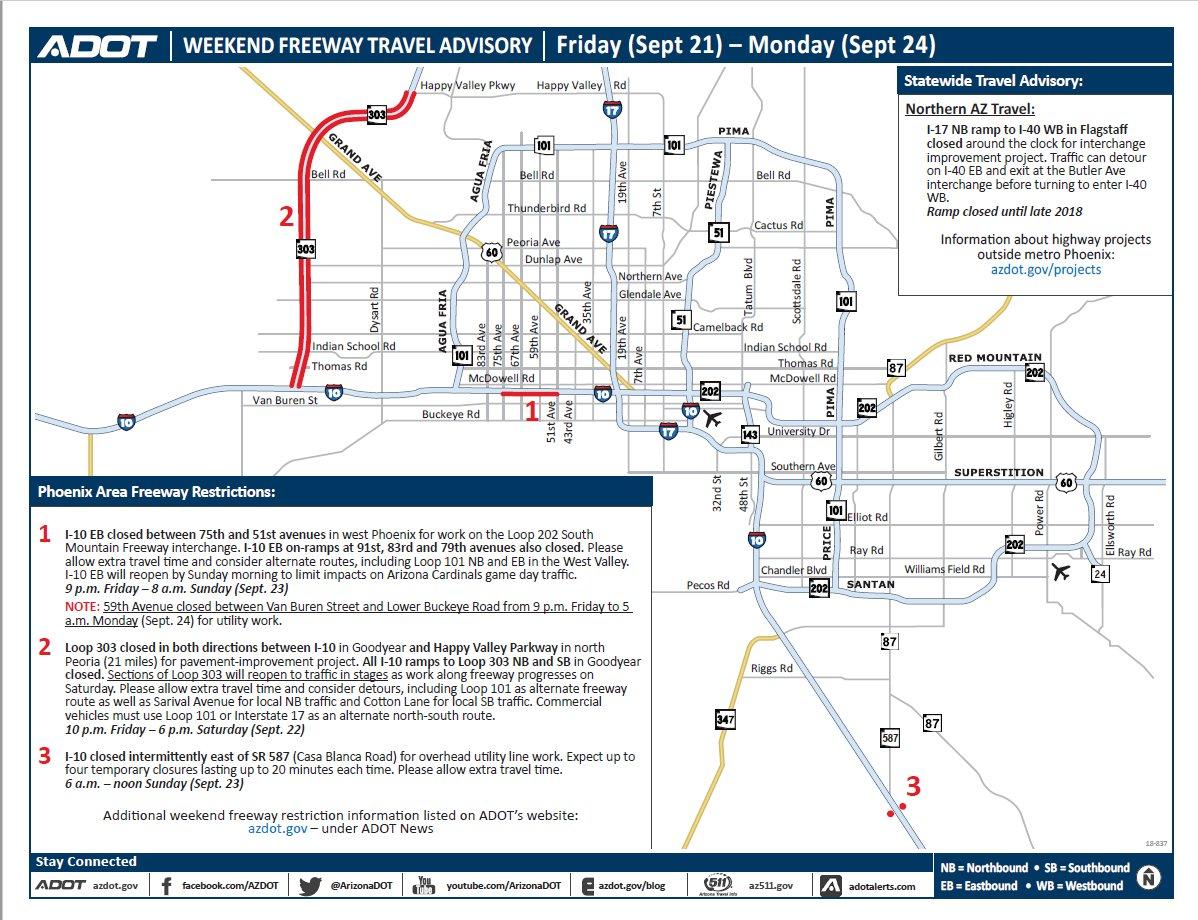 Map Of I 10 Arizona.Arizona Dot On Twitter Check Out Adot S Weekend Construction Map