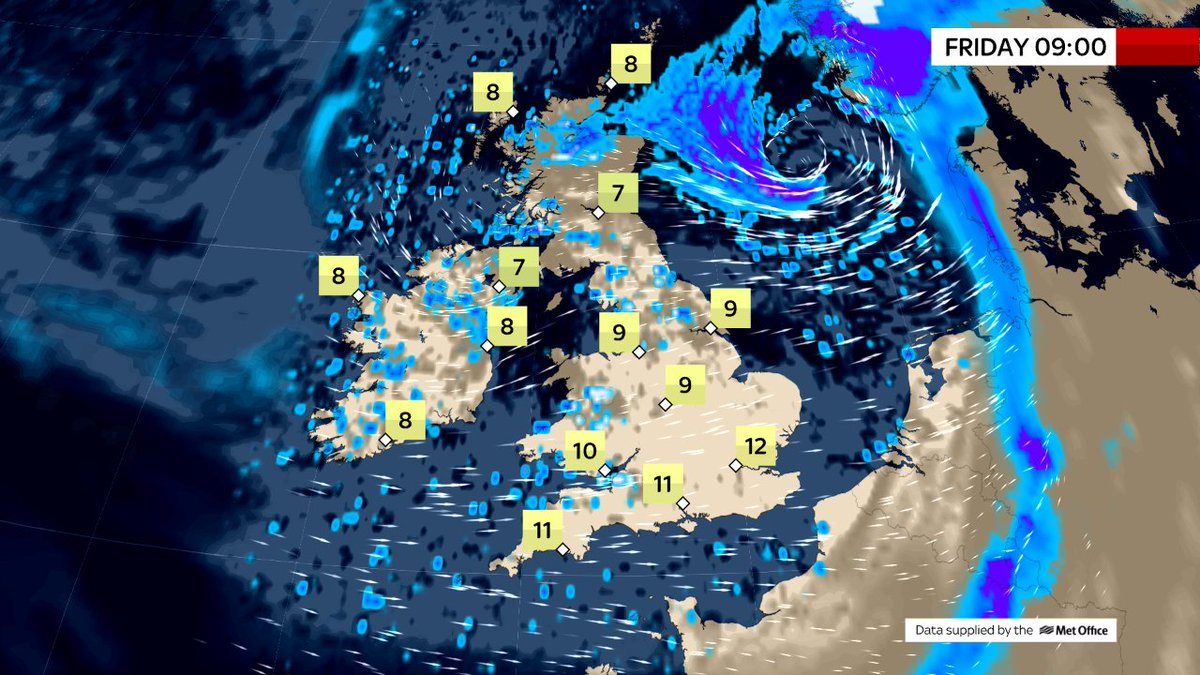 THIS MORNING Gales/severe gales over eastern coasts of UK thanks to storm Bronagh. Rain over northern England & north & east of Scotland. Blustery elsewhere with showers in the west. Winds easing as storm quickly moves away. Rain clearing from north & east too.  @SkyNews#weather