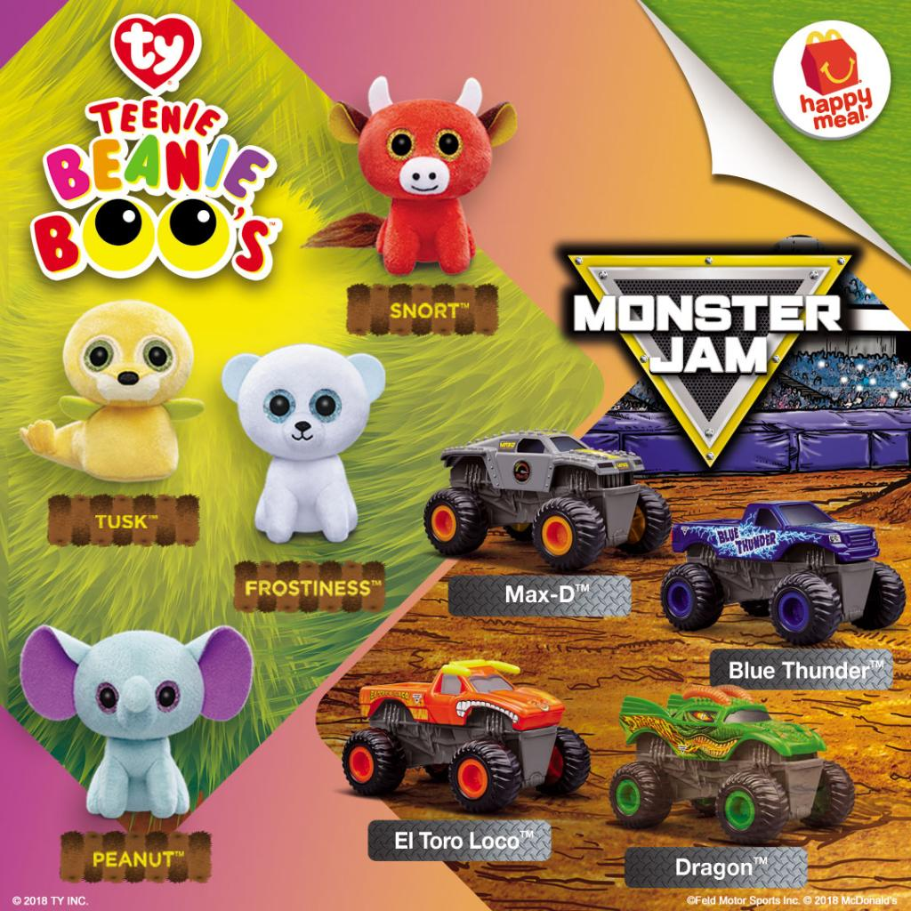 Enjoy awesome adventures with 8 NEW Beanie Boo and Monster Jam toys from  McDonald s! Get one with every Happy Meal c7e45be9003