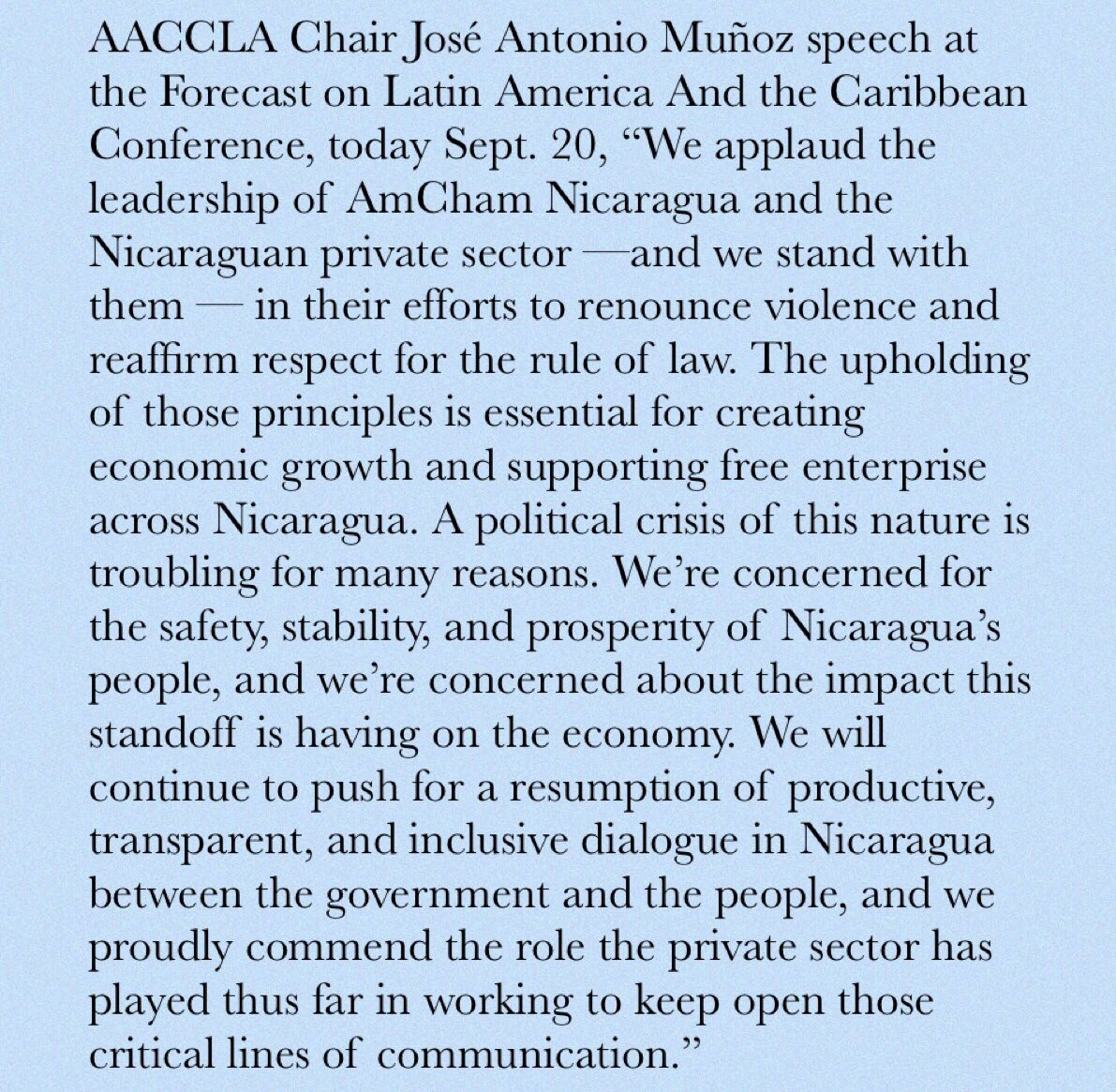 test Twitter Media - AACCLA stands with Nicaragua @AmChamNicaragua https://t.co/2m4buzwhrO