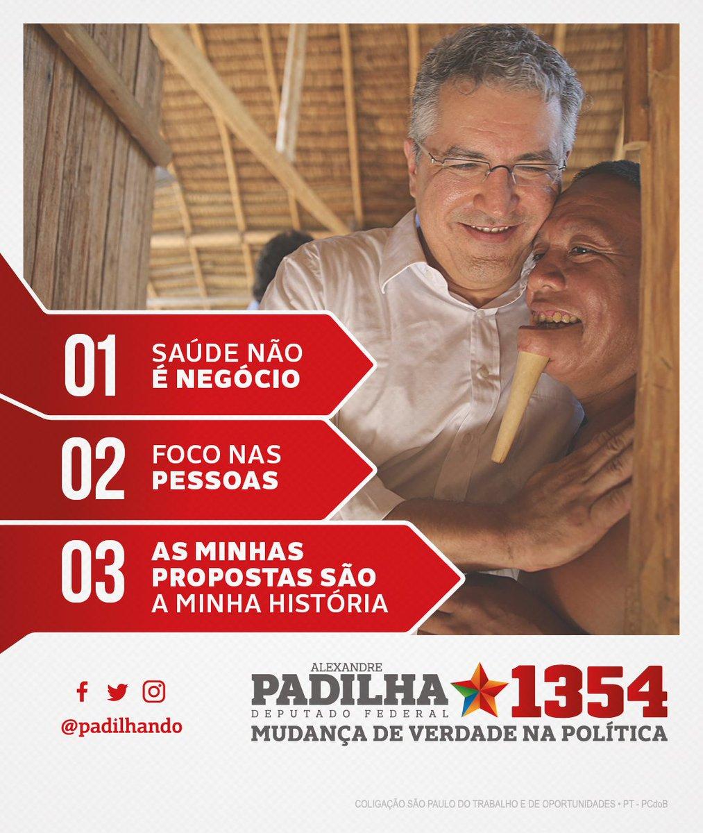 As minhas propostas são o resultado da minha história na defesa de um Brasil mais justo. Quero continuar defendendo a saúde para todos, sem negócio, sem exclusão. Mudar de verdade a política é enfrentar os problemas e gerar resultados. #HaddadÉLula #Padilha1354 #MudançaDeVerdade