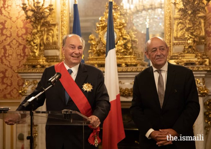 I congratulate His Highness the #AgaKhan for receiving France's highest honour, La Grand-croix de la Légion d'honneur, in recognition of his contributions to humanity, & to improving the quality of life in some of the most vulnerable regions, & communities around the world. Photo