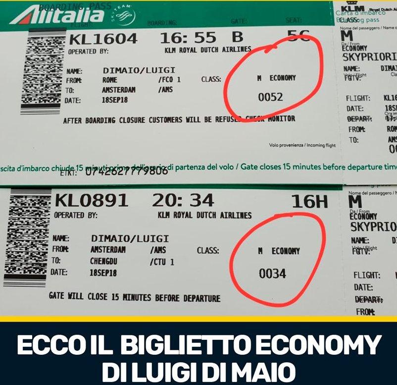 Questo è il biglietto ECONOMY che @luigidimaio ha usato per volare in #Cina, come vedete nessuna business class.Smentiamo l'ennesima fake news del @pdnetwork !  - Ukustom