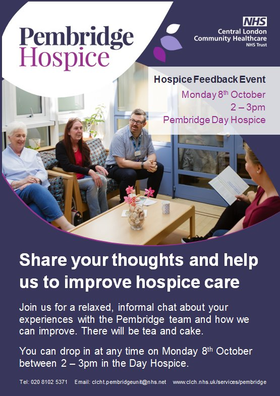 Patients, friends, family members and carers are invited to our hospice feedback event on Monday 8 October from 2-3pm on the Day Hospice. Please join us to share your thoughts on the care we provide, what we do well and what we could improve.