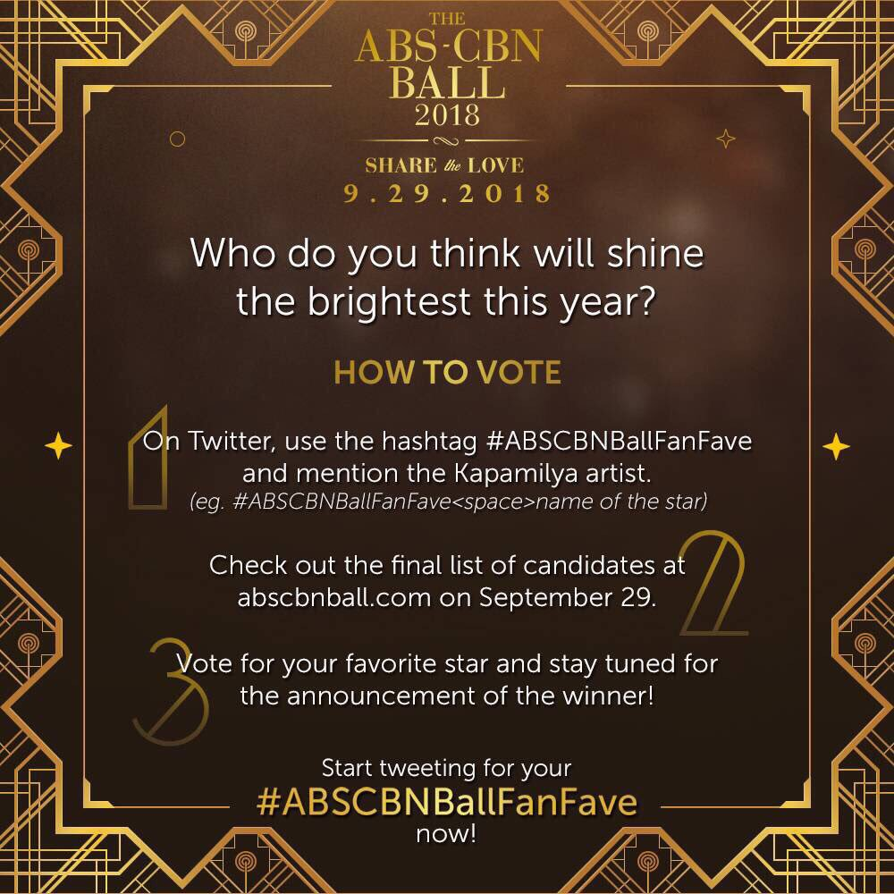 Calling all Kapamilya fans! Who do you think will win the title of the first ever #ABSCBNBallFanFave? Nominate your favorite stars now! #ABSCBNBallShareTheLove
