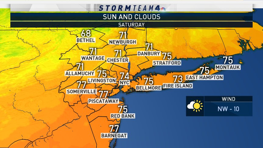 Saturday is a beautiful day with above average temperatures and sunshine. Autumn officially begins at 9:54 pm EDT. #NBC4NY