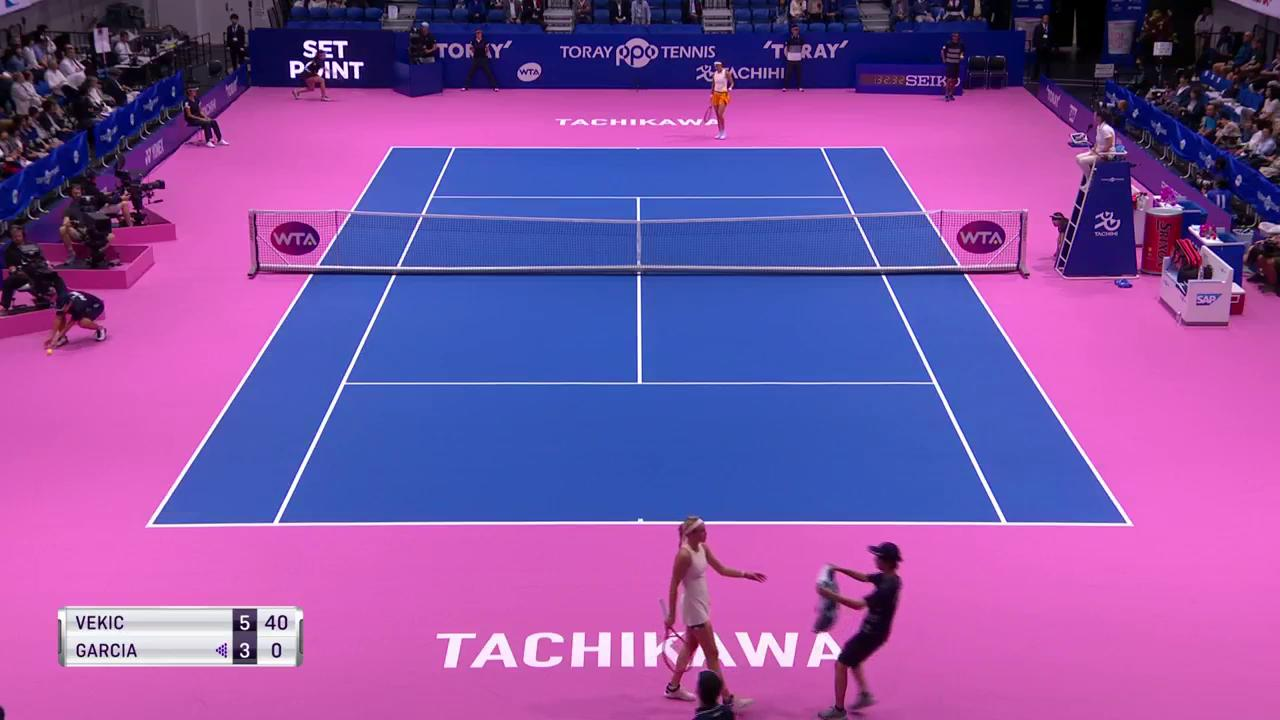 That's the first set to @DonnaVekic at @torayppo !  She leads @CaroGarcia 6-3!  #東レppoテニス https://t.co/dYcCqxQgQ9