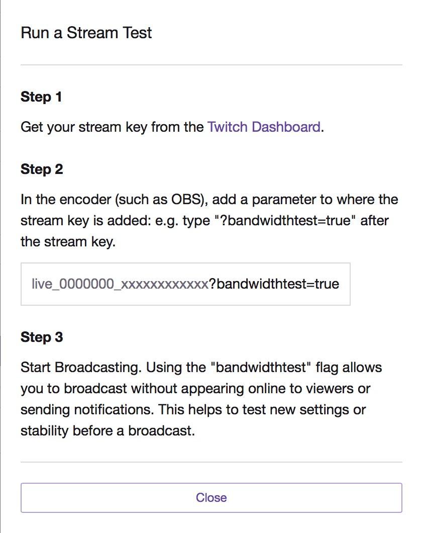 twitch bandwidth test stream key