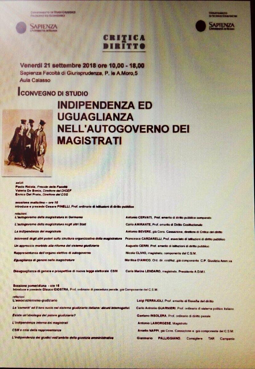 Oggi a @SapienzaRoma convegno di studio su #Indipendenza e #Uguaglianza nell\