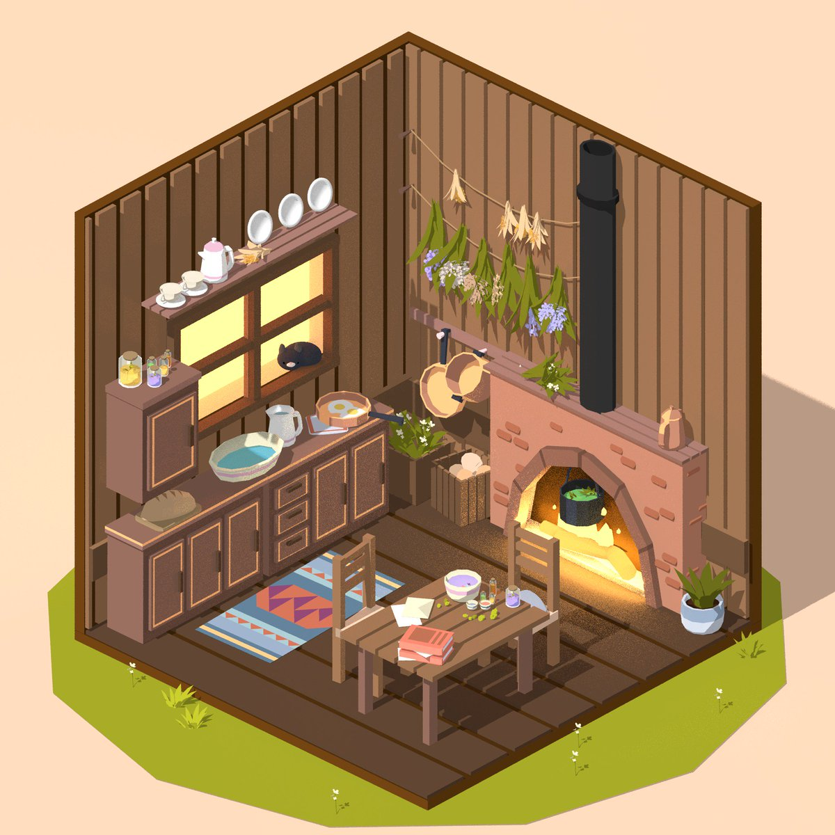 Cabin series : Witch&#39;s Kitchen :3 #lowpoly #Blender3D #3dmodeling<br>http://pic.twitter.com/ar5c1AIXfG