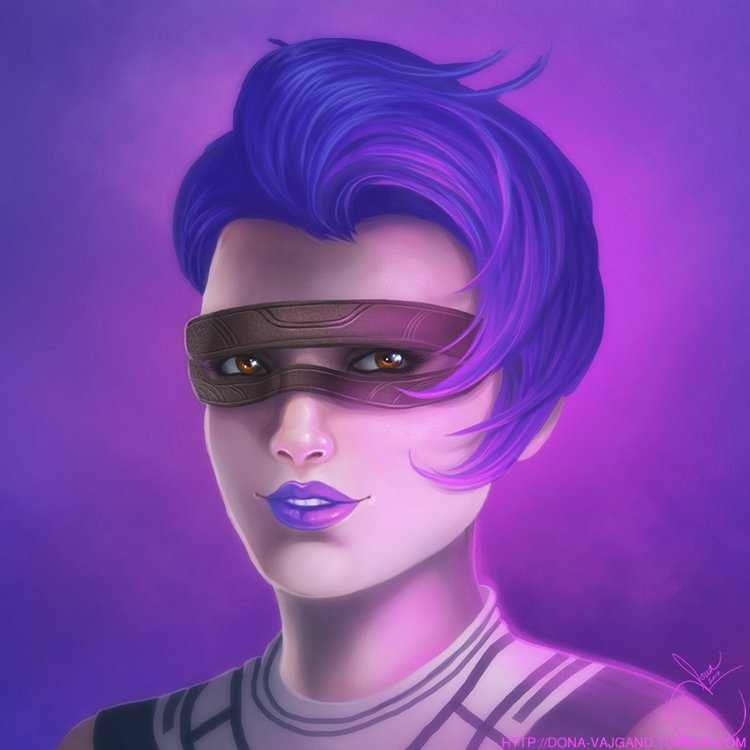 Portrait of Noeki Tansu, a sith inquisitor assassin. She wears a brown leather mask with decorative carvings. Her hair and lipstick are a bright purple with pink highlights.