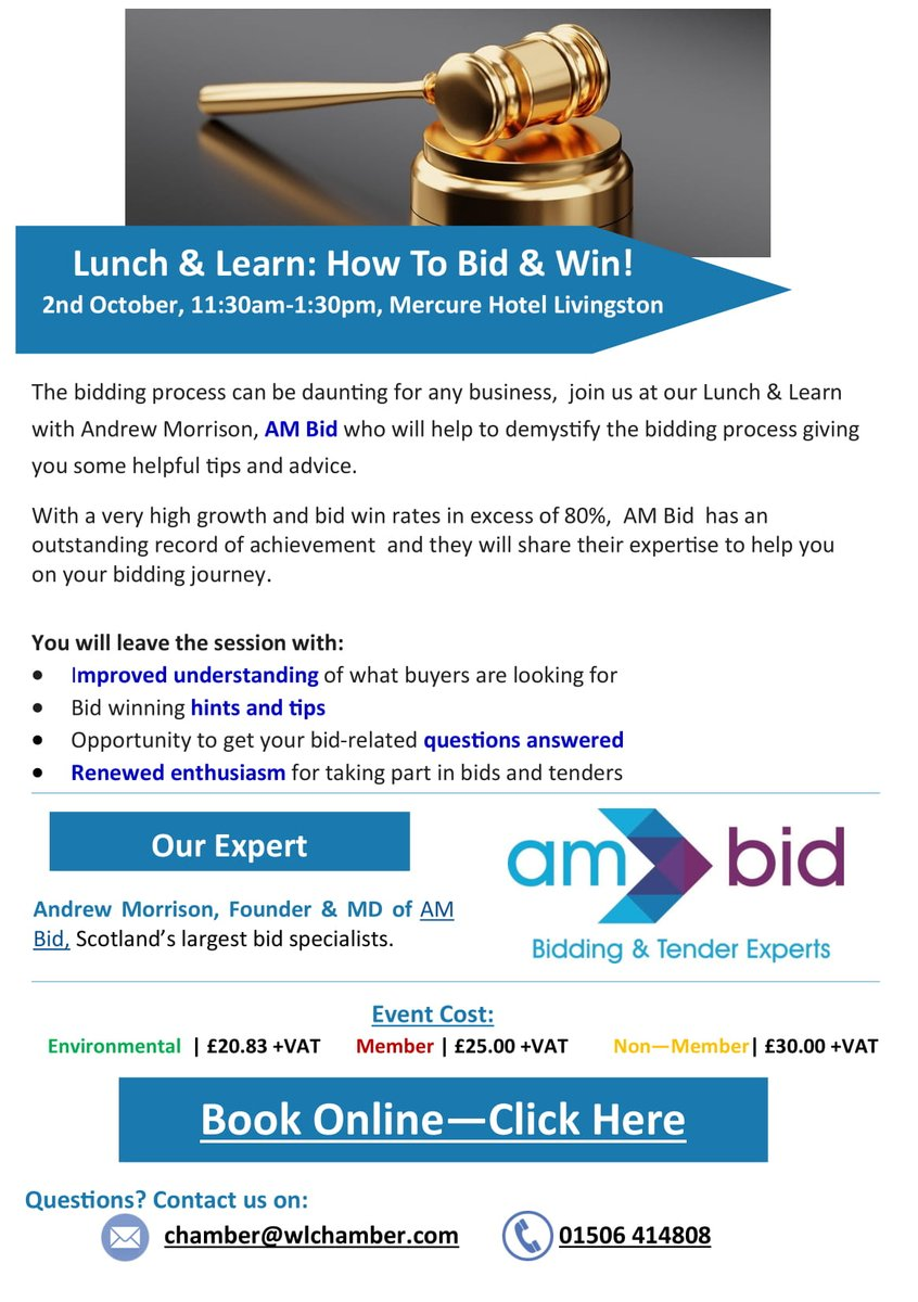 Image for Great event coming up with the @wl_chamber and @AMBidServices!  Head along to Lunch and Learn on the 2nd of October at 11:30. https://t.co/2Otk72Qt7P