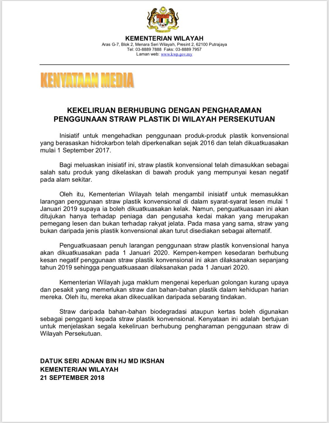 Maya Karin On Twitter Here S The Newest Statement Just Released By Ministry Of Federal Territory Regarding Plastic Straws