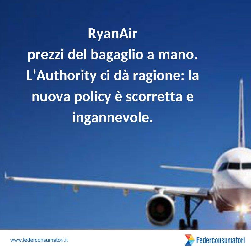#RyanAir: dopo la nostra segnalazione provvedimento @antitrust_it sui #prezzi del #bagaglio a mano. L'Authority ci dà ragione: la nuova policy è scorretta e ingannevole. http://ow.ly/qivh30lUGVh  - Ukustom