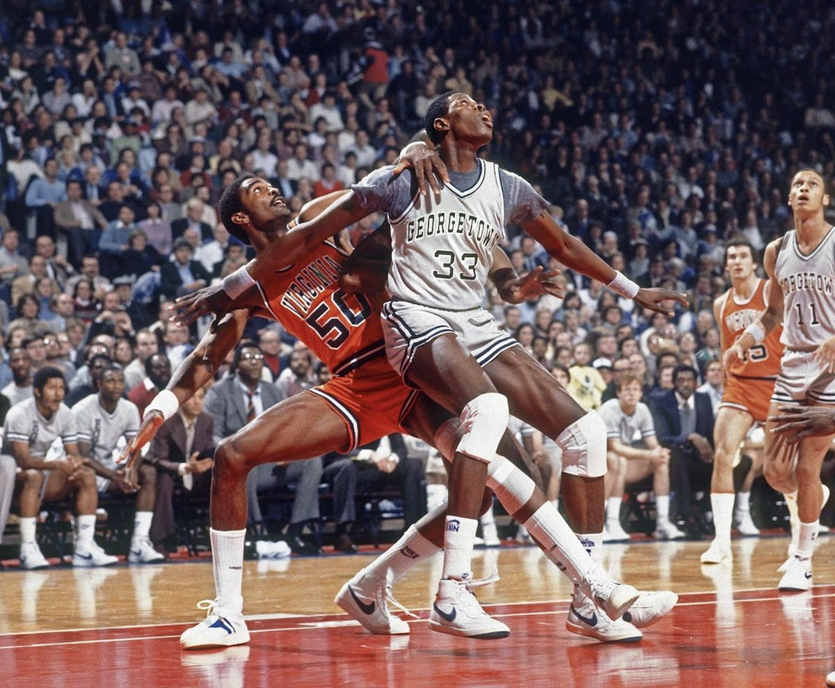 'Froback Friday! The great Ralph Sampson of Virginia going against the great Patrick Ewing of Georgetown, 1983.