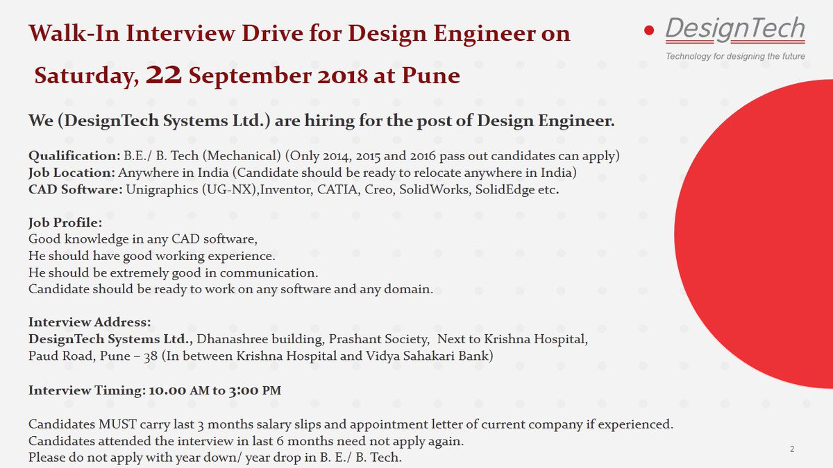 Designtech Systems On Twitter Designtechsys Vacancy Jobopening Designengineer Walkin Interviewdrive Pune Walk In Interview Drive For Design Engineer On Sat 22 September 2018 At Pune Qualification B E B Tech Mechanical Good Knowledge In