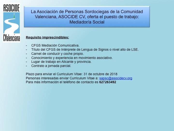 ASOCIDE-CV oferta puesto de trabajo: Mediador - Alicante DnnSHapWsAEo2sw