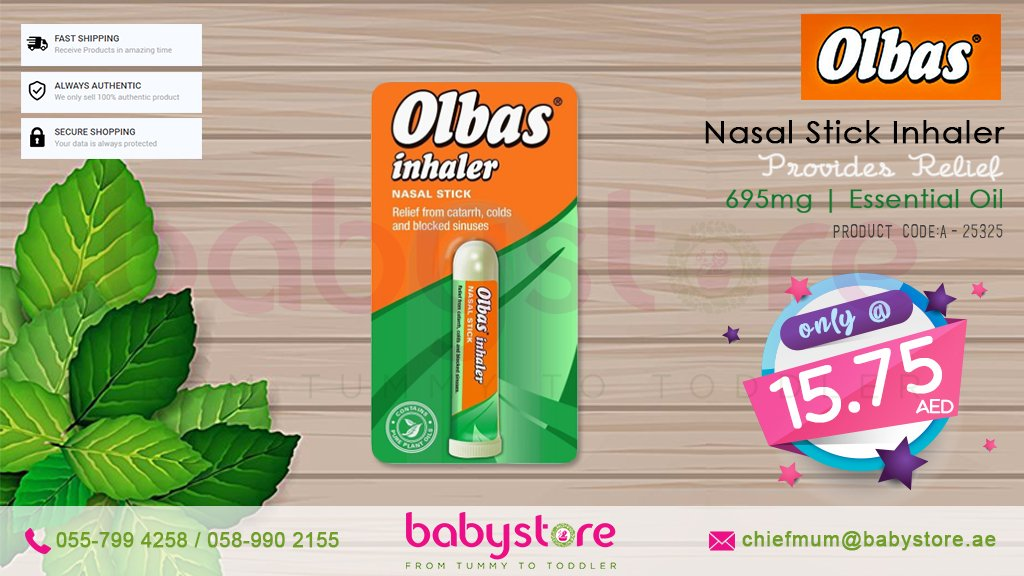 Babystore Ae On Twitter Olbas Inhaler Nasal Stick A Pure Plant Remedy The Stick Contains Essential Oils Which Have Decongestant Properties Inhaler Provides Quick Relief Of Stuffed Up Noses Associated With Colds And Flu